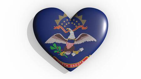 Heart with flag of usa state North Dakota casting a shadow on white background, St. Valentines Day, 3d rendering