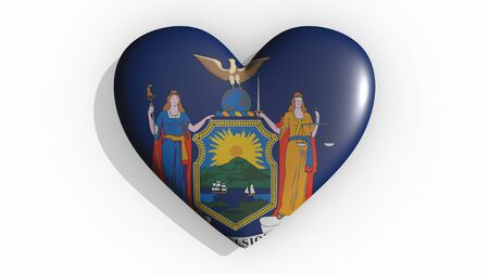 Heart with flag of usa state New York casting a shadow on white background, St. Valentines Day, 3d rendering Stock Photo - 135354301