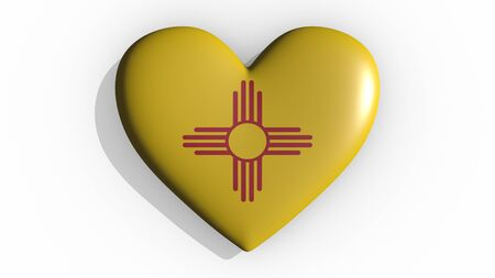 Heart with flag of usa state New Mexico casting a shadow on white background, St. Valentines Day, 3d rendering