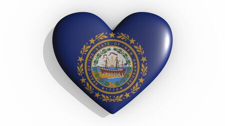 Heart with flag of usa state New Hampshire casting a shadow on white background, St. Valentines Day, 3d rendering Stok Fotoğraf