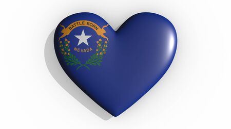 Heart with flag of usa state Nevada casting a shadow on white background, St. Valentines Day, 3d rendering