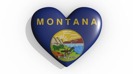 Heart with flag of usa state Montana casting a shadow on white background, St. Valentines Day, 3d rendering