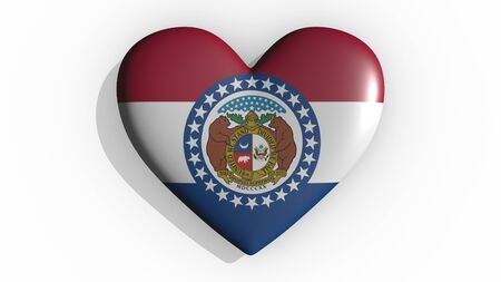 Heart with flag of usa state Missouri casting a shadow on white background, St. Valentines Day, 3d rendering