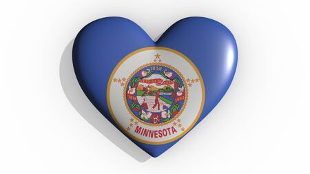 Heart with flag of usa state Minnesota casting a shadow on white background, St. Valentines Day, 3d rendering Stock Photo - 135354320