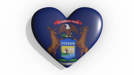 Heart with flag of usa state Michigan casting a shadow on white background, St. Valentines Day, 3d rendering