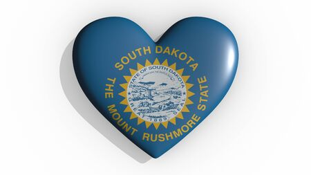 Heart with flag of usa state South Dakota casting a shadow on white background, St. Valentines Day, 3d rendering