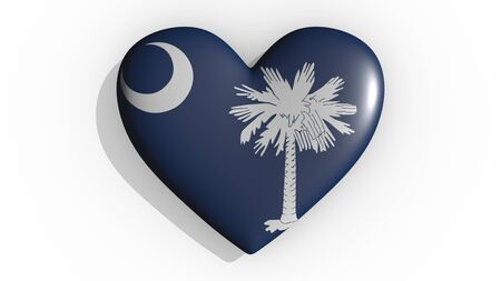 Heart with flag of usa state South Carolina casting a shadow on white background, St. Valentines Day, 3d rendering