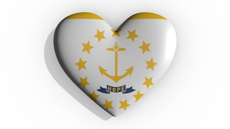 Heart with flag of usa state Rhode Island casting a shadow on white background, St. Valentines Day, 3d rendering Stok Fotoğraf