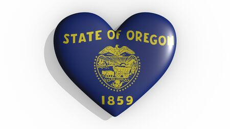 Heart with flag of usa state Oregon casting a shadow on white background, St. Valentines Day, 3d rendering Stok Fotoğraf
