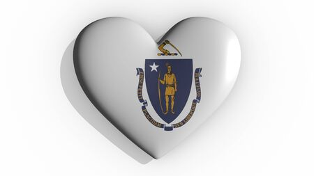 Heart with flag of usa state Massachusetts casting a shadow on white background, St. Valentines Day, 3d rendering