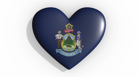 Heart with flag of usa state Maine casting a shadow on white background, St. Valentines Day, 3d rendering