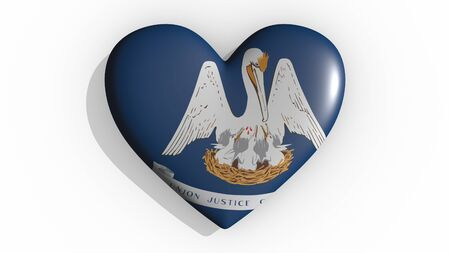 Heart with flag of usa state Louisiana casting a shadow on white background, St. Valentines Day, 3d rendering