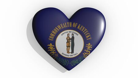 Heart with flag of usa state Kentucky casting a shadow on white background, St. Valentines Day, 3d rendering