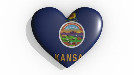 Heart with flag of usa state Kansas casting a shadow on white background, St. Valentines Day, 3d rendering Stok Fotoğraf