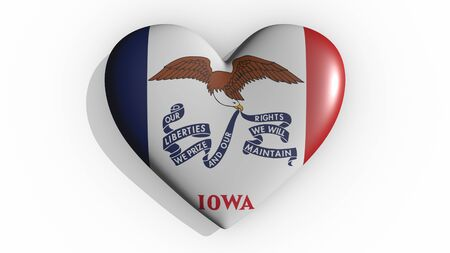 Heart with flag of usa state Iowa casting a shadow on white background, St. Valentines Day, 3d rendering