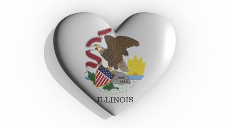 Heart with flag of usa state Illinois casting a shadow on white background, St. Valentines Day, 3d rendering Stok Fotoğraf