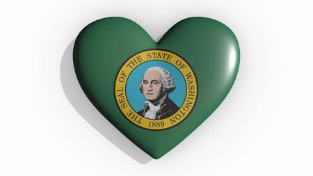 Heart with flag of usa state Washington casting a shadow on white background, St. Valentines Day, 3d rendering