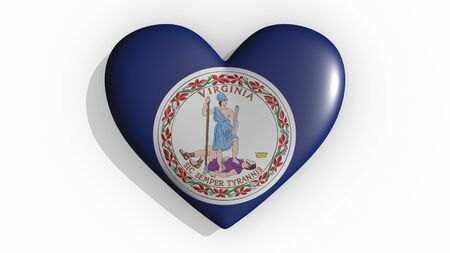 Heart with flag of usa state Virginia casting a shadow on white background, St. Valentines Day, 3d rendering