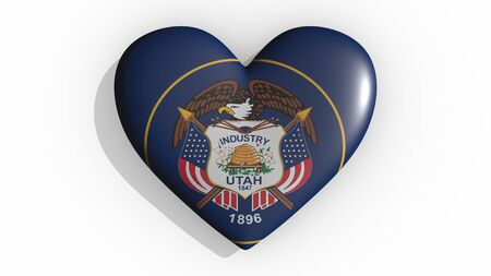 Heart with flag of usa state Utah casting a shadow on white background, St. Valentines Day, 3d rendering