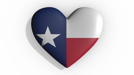 Heart with flag of usa state Texas casting a shadow on white background, St. Valentines Day, 3d rendering