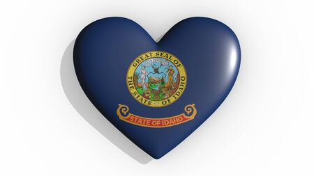 Heart with flag of usa state Idaho casting a shadow on white background, St. Valentines Day, 3d rendering Stock Photo