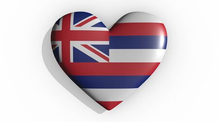Heart with flag of usa state Hawaii casting a shadow on white background, St. Valentines Day, 3d rendering