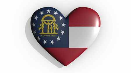 Heart with flag of usa state Georgia casting a shadow on white background, St. Valentines Day, 3d rendering