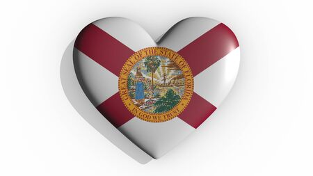 Heart with flag of usa state Florida casting a shadow on white background, St. Valentines Day, 3d rendering Stok Fotoğraf