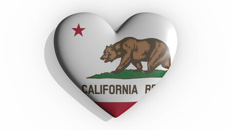 Heart with flag of usa state California casting a shadow on white background, St. Valentines Day, 3d rendering