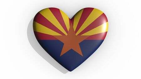 Heart with flag of usa state Arizona casting a shadow on white background, St. Valentines Day, 3d rendering