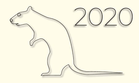 Rat and the inscription 2020 thin line casting a shadow, happy new year, vector