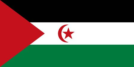 Flag of Western Sahara - Sahrawi Arab Democratic Republic in proportions and colors vector.