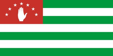 Flag of Abkhazia in proportions and colors vector.