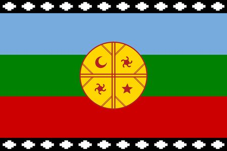 Flag of Mapuche in proportions and colors vector.