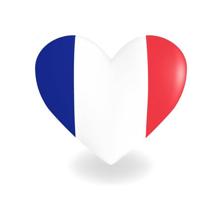 Heart with France flag on a white background casts a shadow, vector Ilustracja