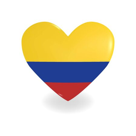 Heart with Colombia flag on a white background casts a shadow, vector
