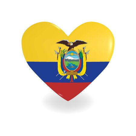 Heart with Ecuador flag on a white background casts a shadow, vector Vector Illustration