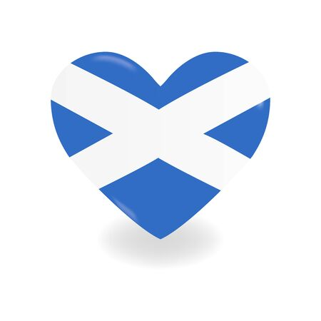 Heart with Scotland flag on a white background casts a shadow, vector