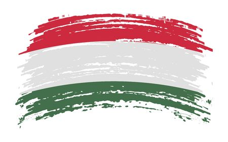 Hungarian torn flag in grunge brush stroke, vector image
