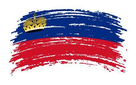 Liechtenstein torn flag in grunge brush stroke, vector image 矢量图像