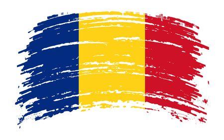 Romanian torn flag in grunge brush stroke, vector image
