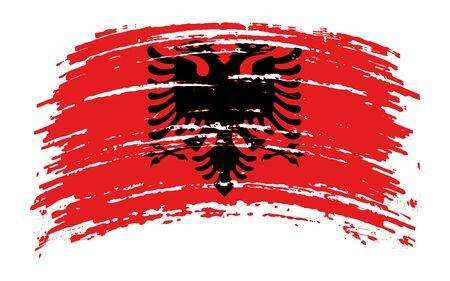 Albanian torn flag in grunge brush stroke, vector image Иллюстрация