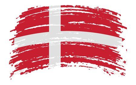 Danish torn flag in grunge brush stroke, vector image Иллюстрация