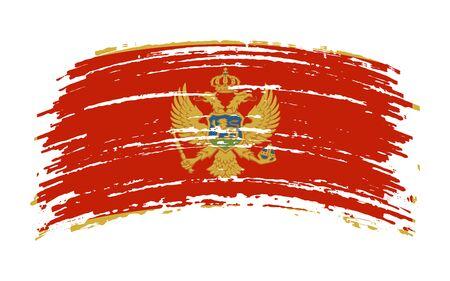 Montenegrin torn flag in grunge brush stroke, vector image