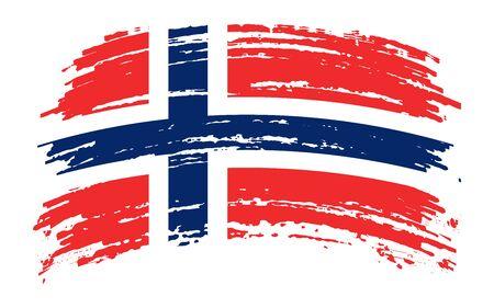 Norwegian torn flag in grunge brush stroke, vector image