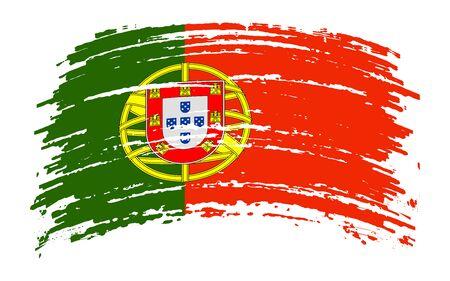 Portuguese torn flag in grunge brush stroke, vector image Иллюстрация