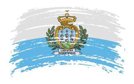San Marino torn flag in grunge brush stroke, vector image Иллюстрация