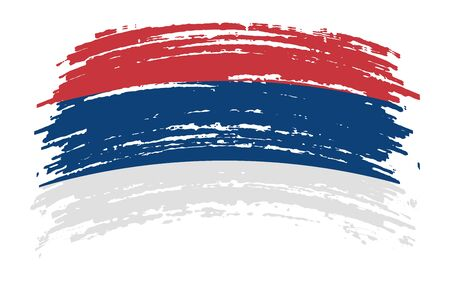 Serbian torn flag in grunge brush stroke, vector image