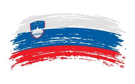 Slovenian torn flag in grunge brush stroke, vector image Иллюстрация