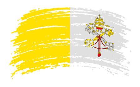 Vatican torn flag in grunge brush stroke, vector image Иллюстрация